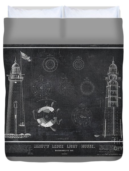 Duvet Cover featuring the drawing Minot's Ledge Light House. Massachusetts Bay Near Cohasset  by Vintage