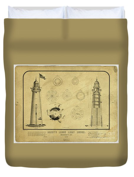 Duvet Cover featuring the drawing Minot's Ledge Light House. Massachusetts Bay by Vintage
