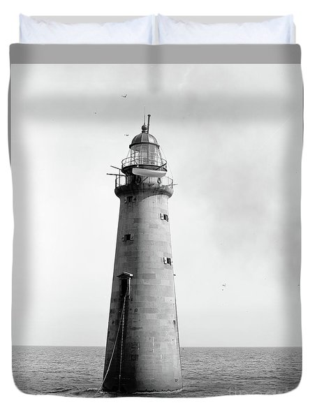 Duvet Cover featuring the photograph Minot's Ledge Lighthouse, Boston, Mass Vintage by Vintage