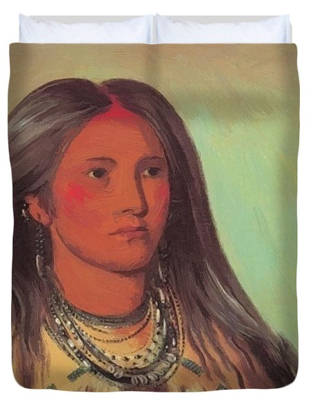 Mint A Mandan Girl 1832 Duvet Cover
