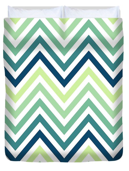 Mint And Blue Chevron Pattern Duvet Cover by Bimbys Collections
