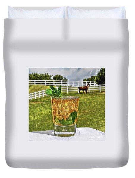 Mint Julep Kentucky Derby Duvet Cover