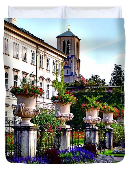 Duvet Cover featuring the photograph Mirabell Palace And Gardens by Kathy Kelly