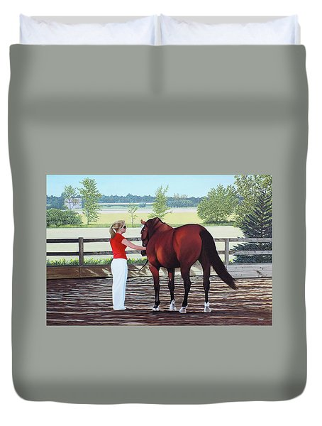 Duvet Cover featuring the painting Mirage Of Wassini by Kenneth  Kirsch