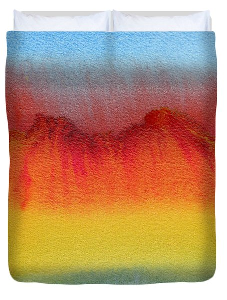 Duvet Cover featuring the painting Miraggio by Bee-Bee Deigner