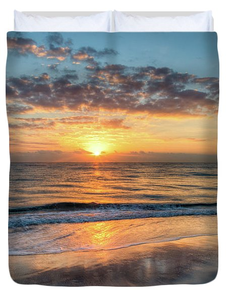 Duvet Cover featuring the photograph Mirror At Sunrise by Debra and Dave Vanderlaan