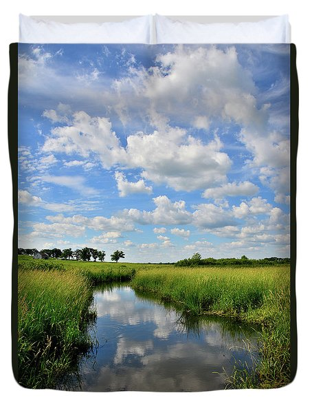 Mirror Image Of Clouds In Glacial Park Wetland Duvet Cover