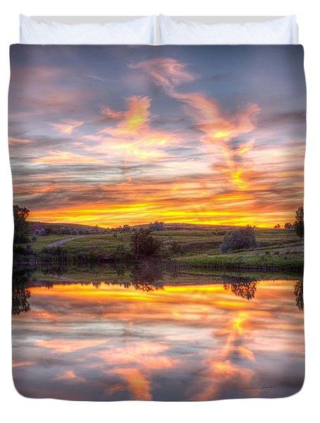 Mirror Lake Sunset Duvet Cover