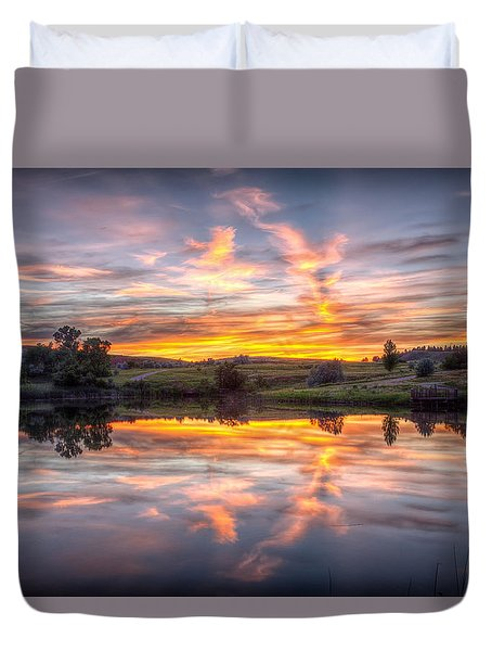 Mirror Lake Sunset Duvet Cover