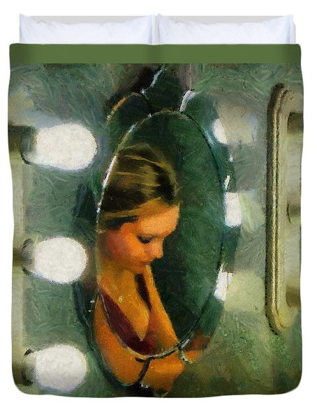 Duvet Cover featuring the painting Mirror Mirror On The Wall by Jeff Kolker