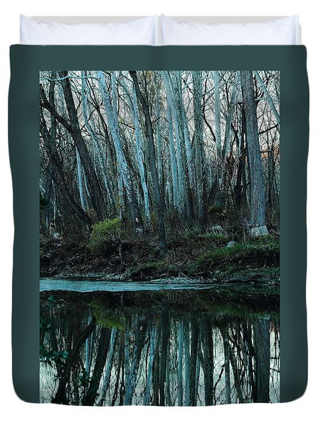 Duvet Cover featuring the photograph Mirrored by Bruce Patrick Smith