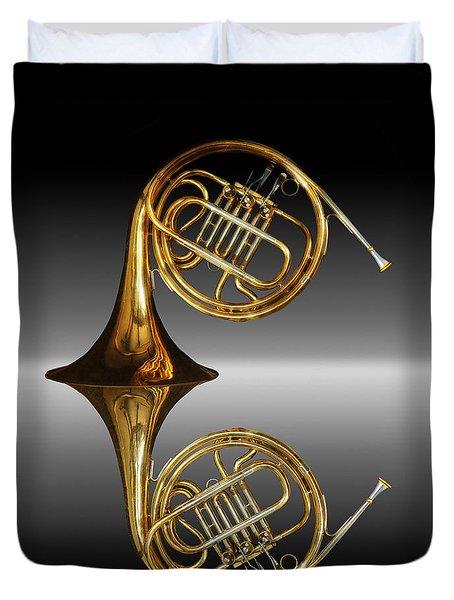 Duvet Cover featuring the photograph Mirrored Horn by Joe Bonita