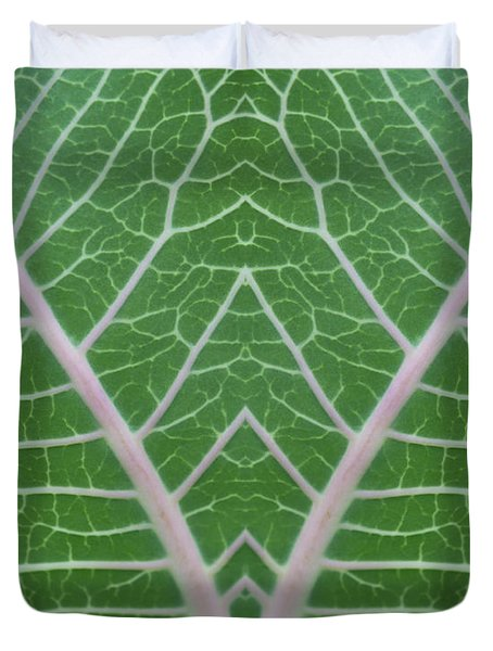Mirrored Milkweed Veins Duvet Cover by Paul Rebmann