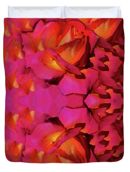 Mirrored Pink Rose Reflection Duvet Cover