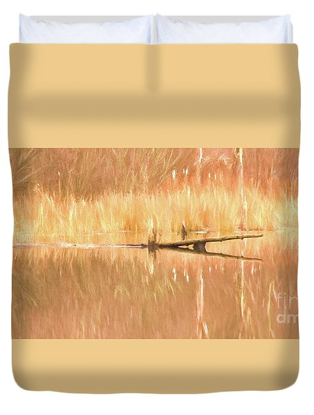 Duvet Cover featuring the photograph Mirrored Reflection by Laurinda Bowling