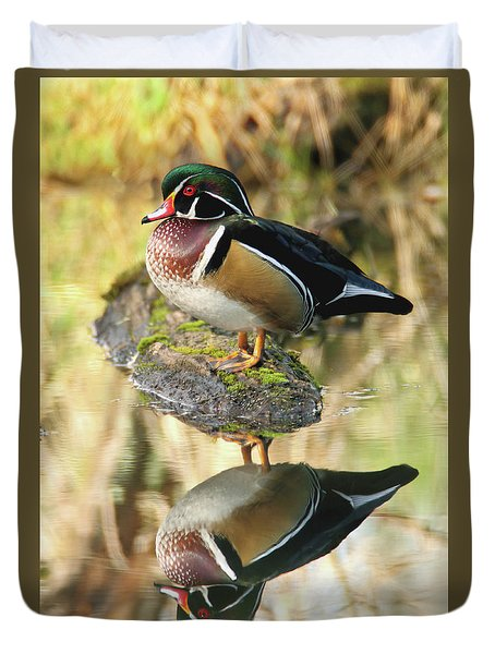 Mirrored Wood Duck Duvet Cover