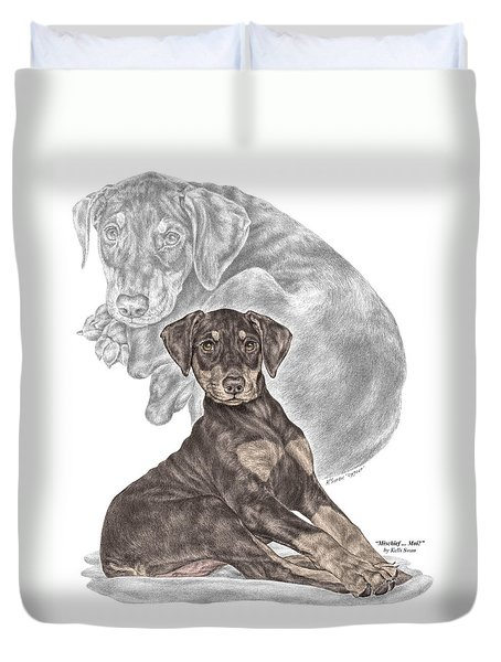 Mischief ... Moi? - Doberman Pinscher Puppy - Color Tinted Duvet Cover by Kelli Swan