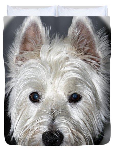 Mischievous Westie Dog Duvet Cover