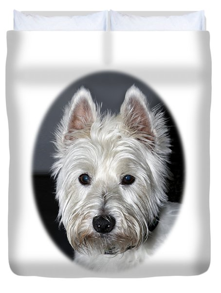 Mischievous Westie Dog Duvet Cover