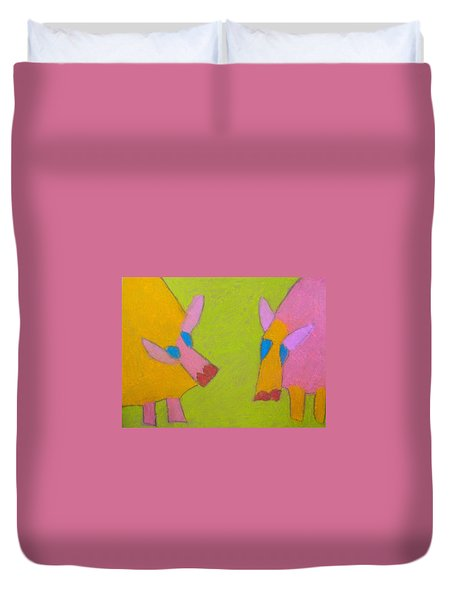 Duvet Cover featuring the pastel Mischievous Pigs by Artists With Autism Inc