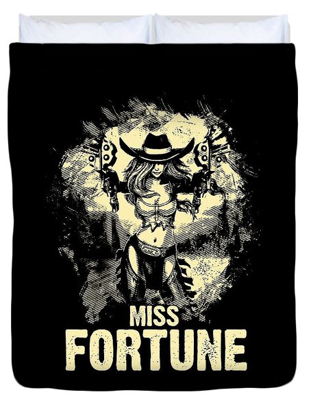 Miss Fortune - Vintage Comic Line Art Style Duvet Cover