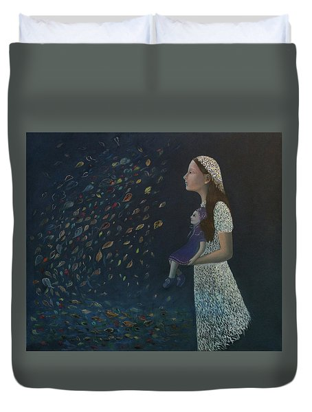 Miss Frost Watching The Autumn Dance Duvet Cover by Tone Aanderaa