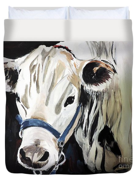 Duvet Cover featuring the painting Miss White by Tom Riggs