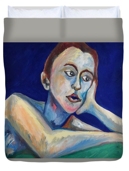 Duvet Cover featuring the painting Missing You by Esther Newman-Cohen
