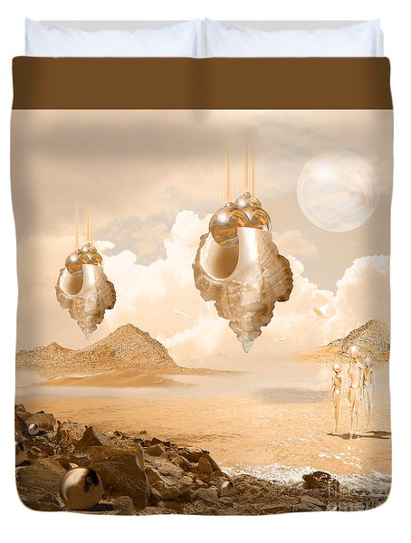 Mission In A Far Planet Duvet Cover