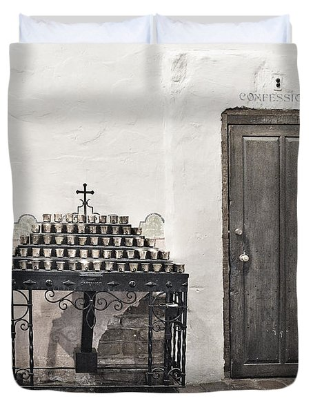 Duvet Cover featuring the photograph Mission San Diego - Confessional Door by Christine Till