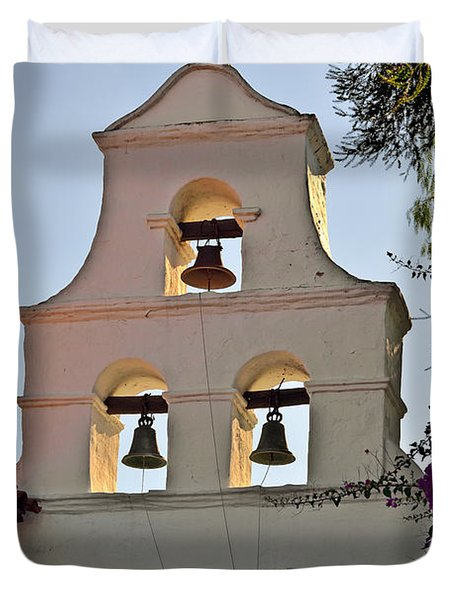 Duvet Cover featuring the photograph Mission San Diego De Alcala Bell Tower by Christine Till