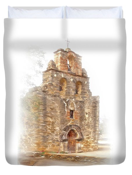 Duvet Cover featuring the photograph Mission San Francisco De La Espada In Faux Pencil Drawing  by David and Carol Kelly