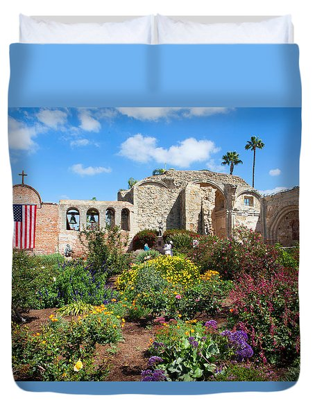 Duvet Cover featuring the photograph Mission San Juan Capistrano by Ram Vasudev