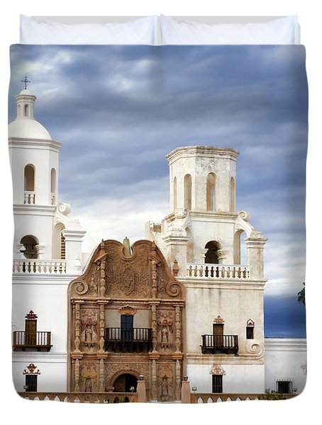 Mission San Xavier Del Bac Duvet Cover by Donna Greene