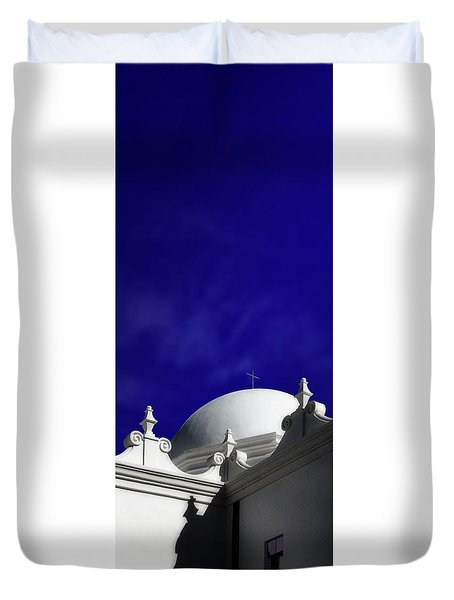 Mission San Xavier Del Bac Duvet Cover by Gary Warnimont