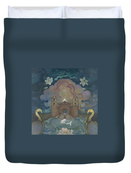 Duvet Cover featuring the painting Mission Santa Barbara by Andrew Batcheller
