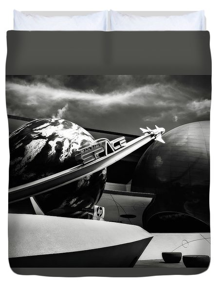 Duvet Cover featuring the photograph Mission Space Black And White by Eduard Moldoveanu
