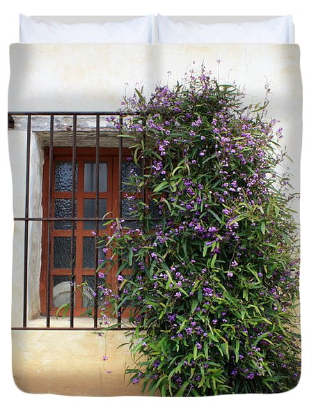 Mission Window With Purple Flowers Duvet Cover by Carol Groenen