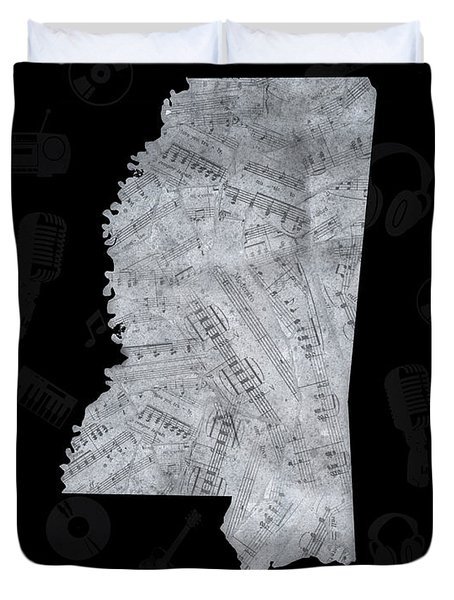 Mississippi Map Music Notes 2 Duvet Cover