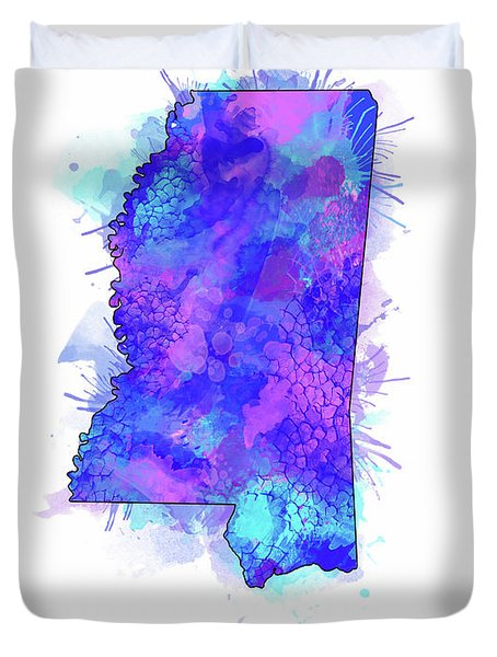 Mississippi Map Watercolor 2 Duvet Cover