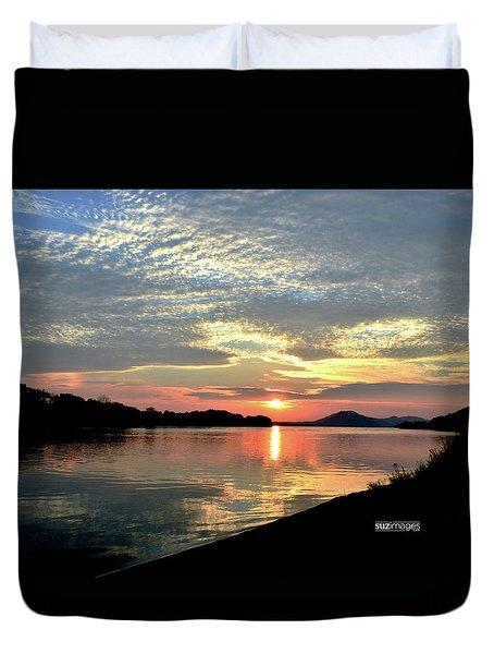 Mississippi River Sunrise Duvet Cover