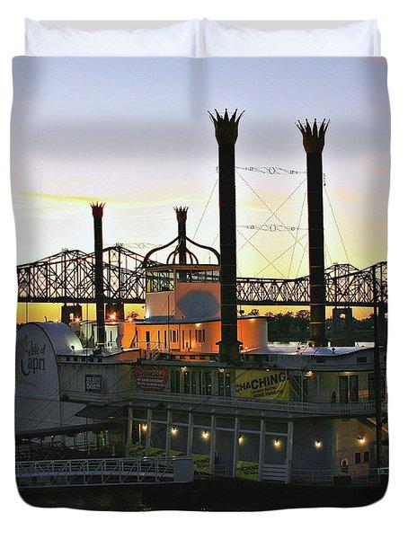 Mississippi Riverboat Sunset Duvet Cover