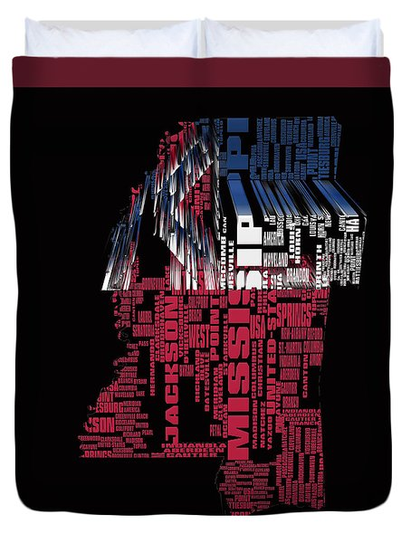 Mississippi Typographic Map 4a Duvet Cover