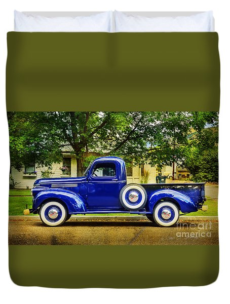 Duvet Cover featuring the photograph Missoula Blue Truck by Craig J Satterlee