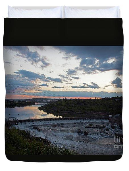Missouri River Black Eagle Falls Mt Duvet Cover