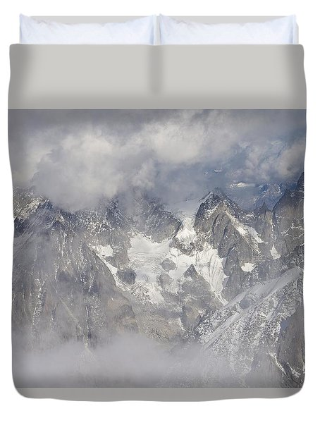 Mist And Clouds At Auiguille Du Midi Duvet Cover