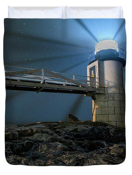 Mist At Marshall Point Light Duvet Cover