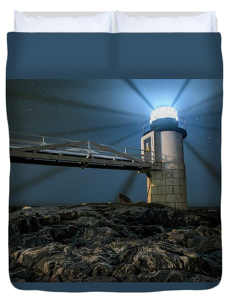 Mist At Marshall Point Light Duvet Cover