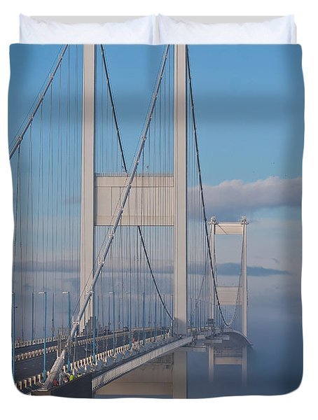 Mist Over The Severn Duvet Cover by Brian Roscorla