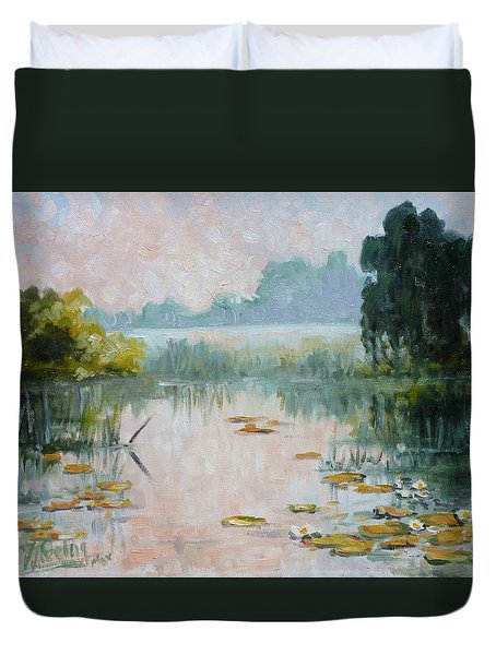 Mist Over Water Lilies Pond Duvet Cover